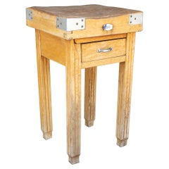 Vintage French Butcher Block Table with Drawer
