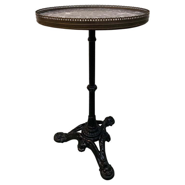 Vintage French Cafe Bistro Table with Cast Iron Pedestal For Sale