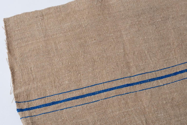 Hand-Woven Vintage French Canvas For Sale