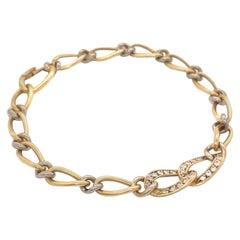 Vintage French Cartier Diamond 18 Karat Gold Chain Link Bracelet