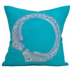 Vintage French Cartier Panther Bracelet Silk Scarf Blue Green Irish Linen Pillow