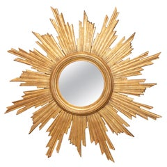 Vintage French Carved Midcentury Giltwood Sunburst with Convex Mirror