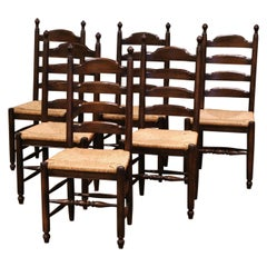 Vintage French Carved Oak Ladder Back Chairs with Rush Woven Seat, Set of Six