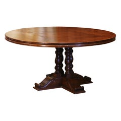 Vintage French Carved Walnut Round Dining Table on Columns Pedestal Base