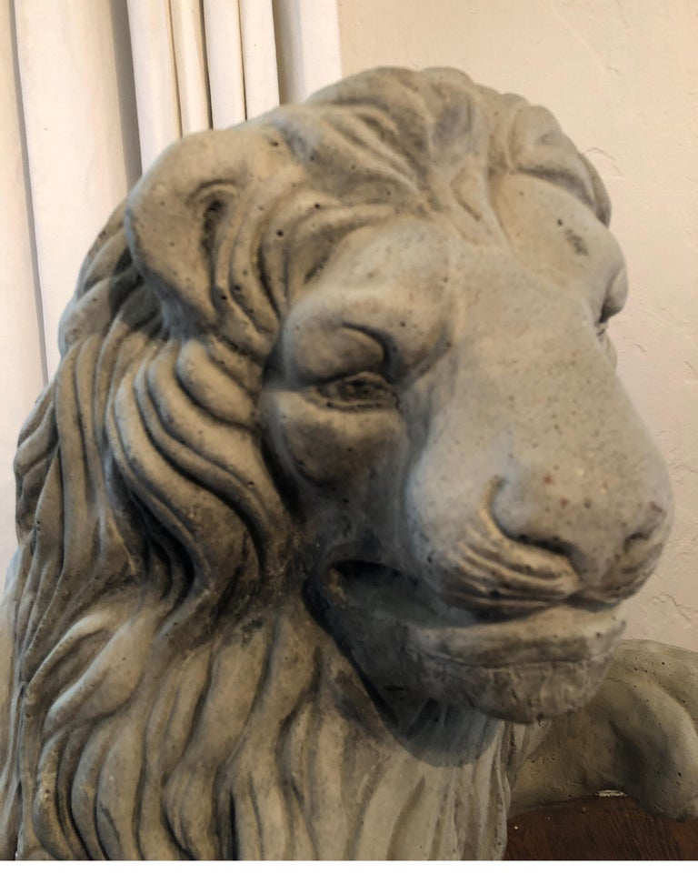 Vintage French Cast Stone Seated Figural Lion Statue, 20th Century In Good Condition For Sale In Los Angeles, CA