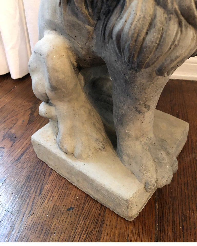 Vintage French Cast Stone Seated Figural Lion Statue, 20th Century For Sale 1