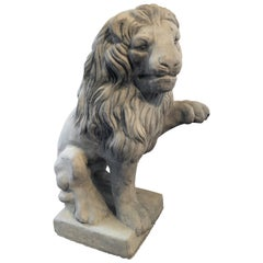 Vintage French Cast Stone Seated Figural Lion Statue, 20th Century