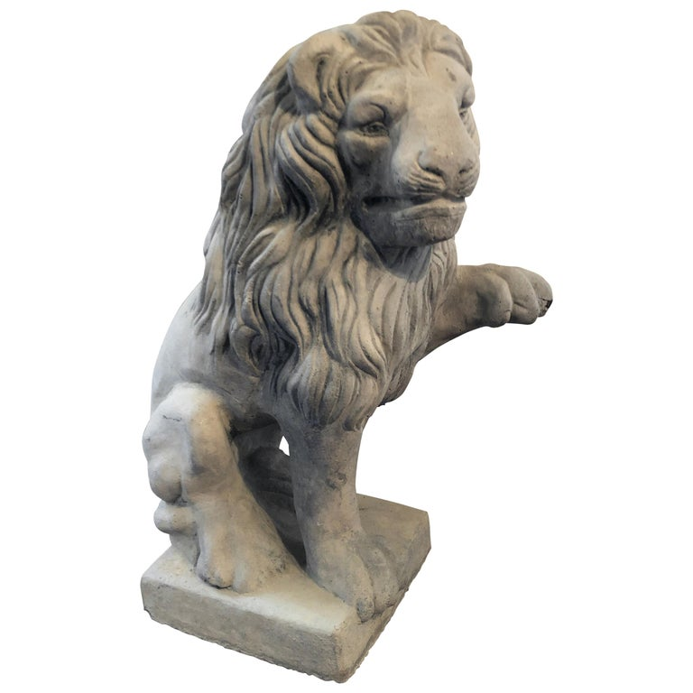 Vintage French Cast Stone Seated Figural Lion Statue, 20th Century For Sale