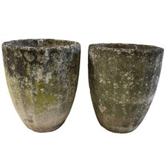 Vintage French Cement Urns with Organic Patina