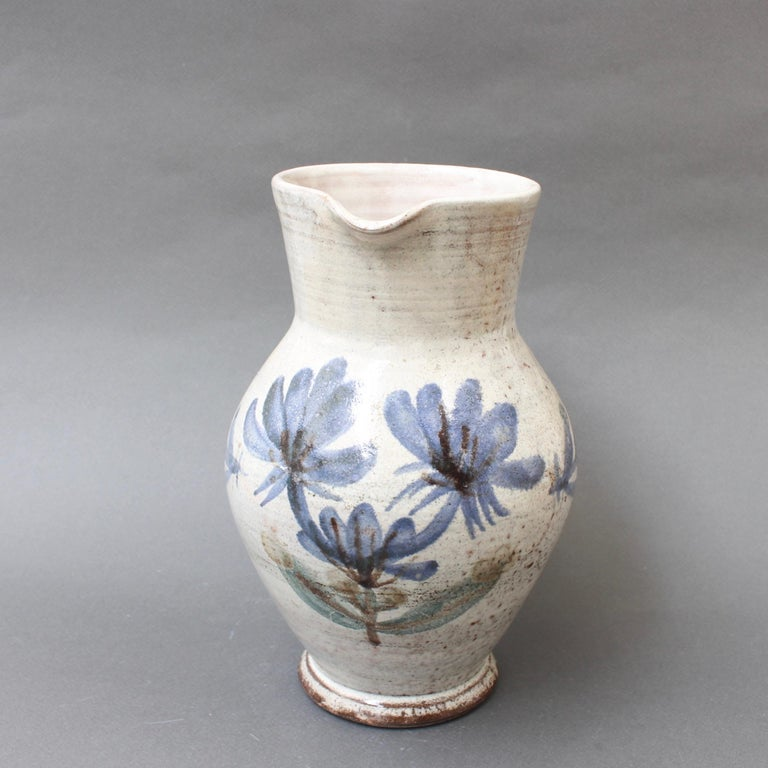 Mid-20th Century Vintage French Ceramic Pitcher by Gustave Reynaud, Le Mûrier, circa 1950s For Sale