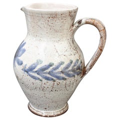 Vintage French Ceramic Pitcher by Gustave Reynaud, Le Mûrier, circa 1950s