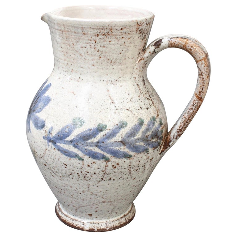 Vintage French Ceramic Pitcher by Gustave Reynaud, Le Mûrier, circa 1950s For Sale