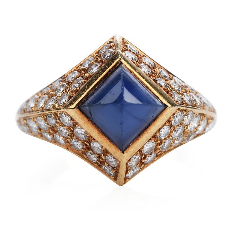 Shine brightly with this French-made vivid Vintage Burma natural sapphire Diamond 18K Gold pave Ring!  This ring had 1 scintillating Genuine Natural No heat Suger loaf shapesapphire with Burma origin and AGL lab Report, bezel-set Weighing approx.