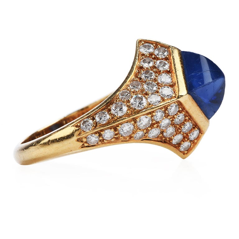Retro Vintage French Certified Burma Natural No-Heat Sapphire Diamond Ring For Sale