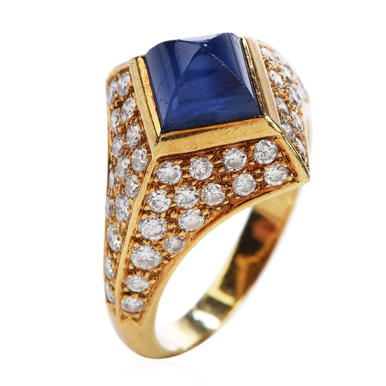 Vintage French Certified Burma Natural No-Heat Sapphire Diamond Ring In Excellent Condition For Sale In Miami, FL
