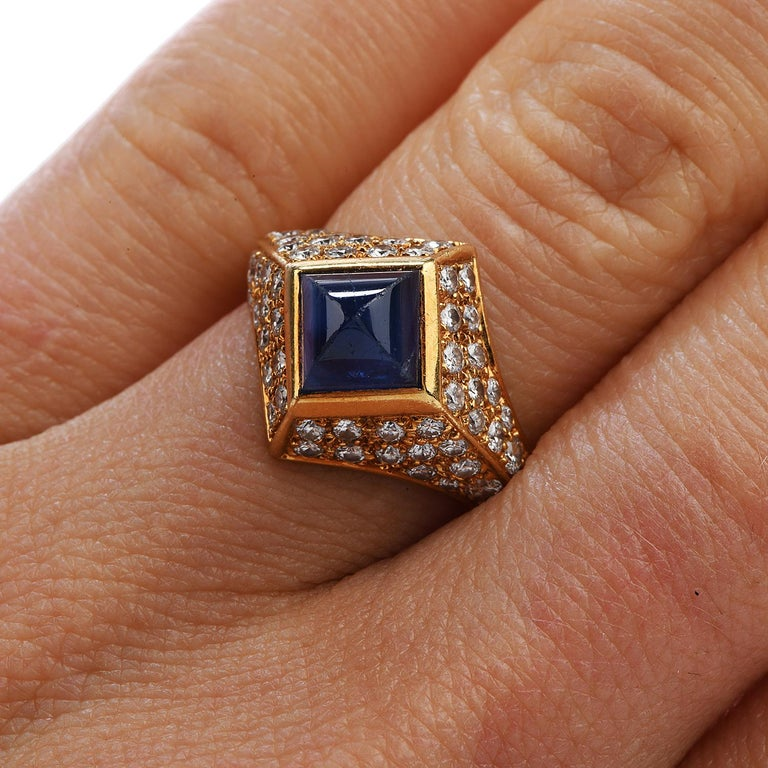 Women's or Men's Vintage French Certified Burma Natural No-Heat Sapphire Diamond Ring For Sale