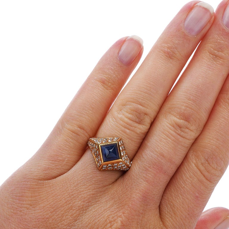 Vintage French Certified Burma Natural No-Heat Sapphire Diamond Ring For Sale 1