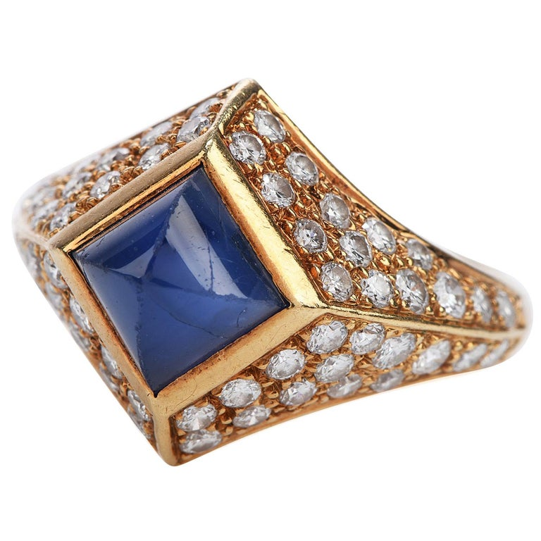 Vintage French Certified Burma Natural No-Heat Sapphire Diamond Ring For Sale