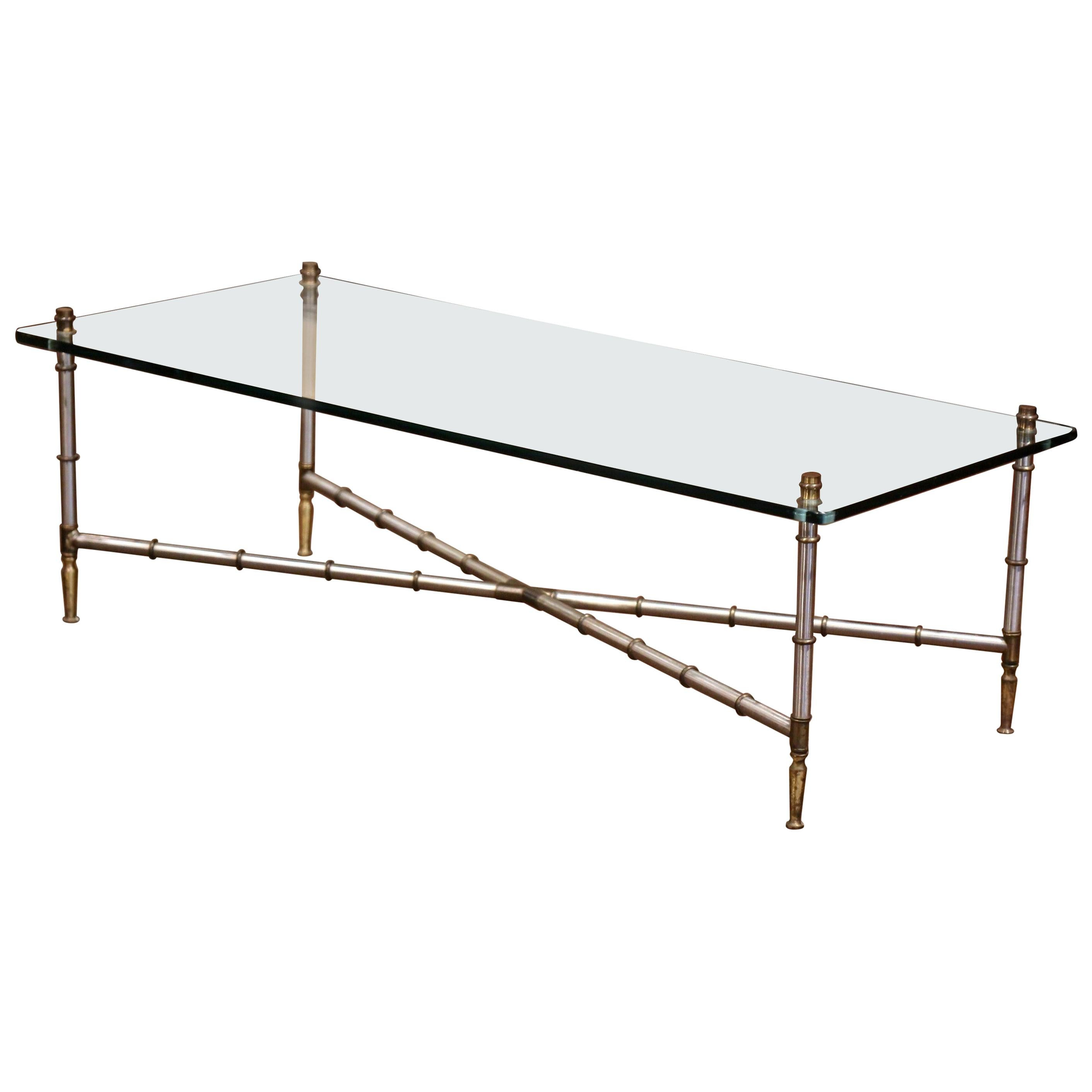 Vintage French Chrome and Glass Faux Bamboo Coffee Table from Maison Jansen