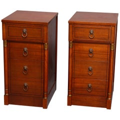 Vintage French Classical Mahogany and Bronze Figural 4-Drawer End Cabinets
