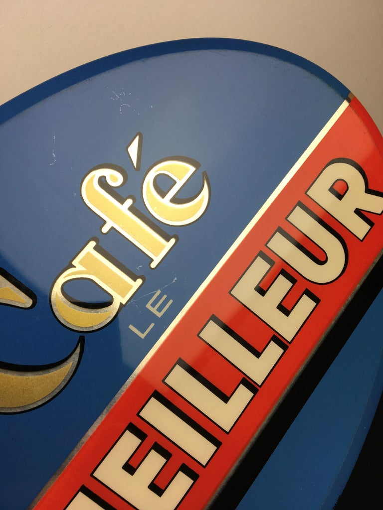 Vintage French Coffee Sign, Jihair Coffee For Sale 8