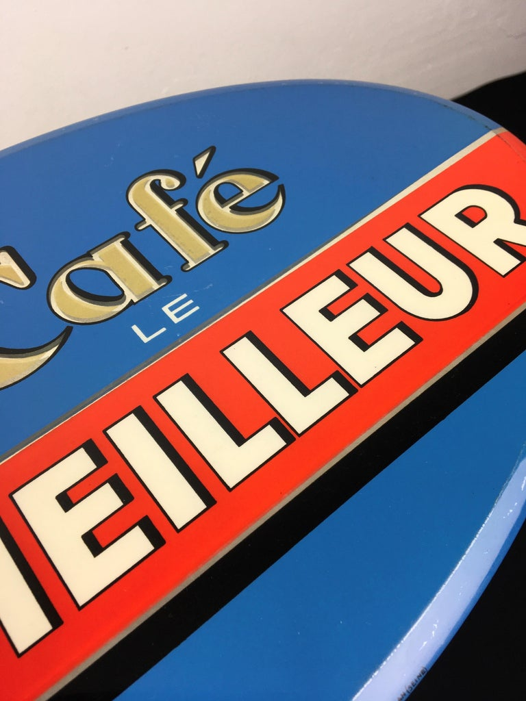 Vintage French Coffee Sign, Jihair Coffee For Sale 9