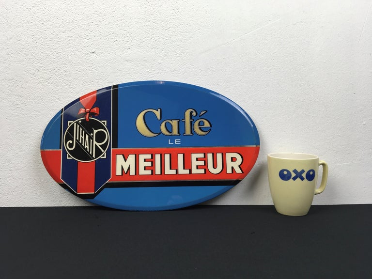 Vintage French Coffee Sign, Jihair Coffee For Sale 10