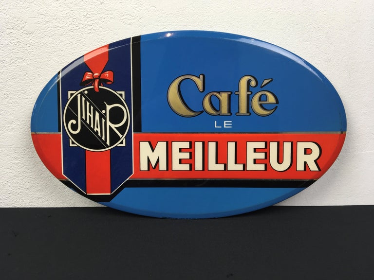 Vintage French Coffee Sign, Jihair Coffee For Sale 11