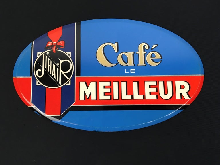 Vintage French Coffee Sign, Jihair Coffee For Sale 12