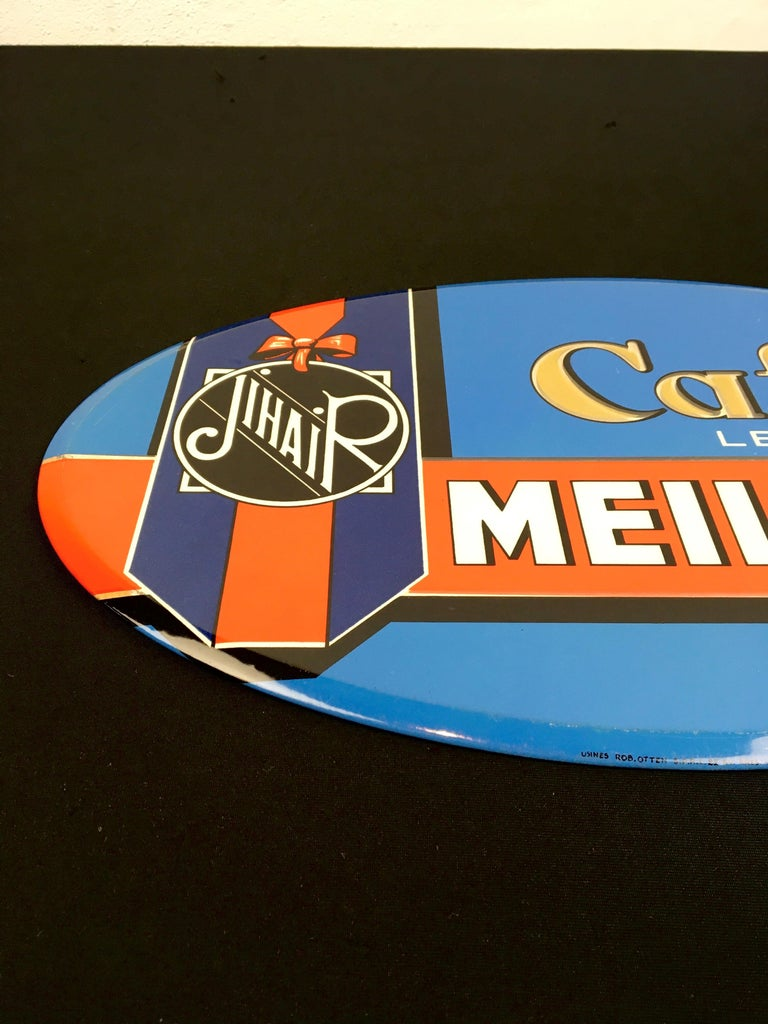 20th Century Vintage French Coffee Sign, Jihair Coffee For Sale