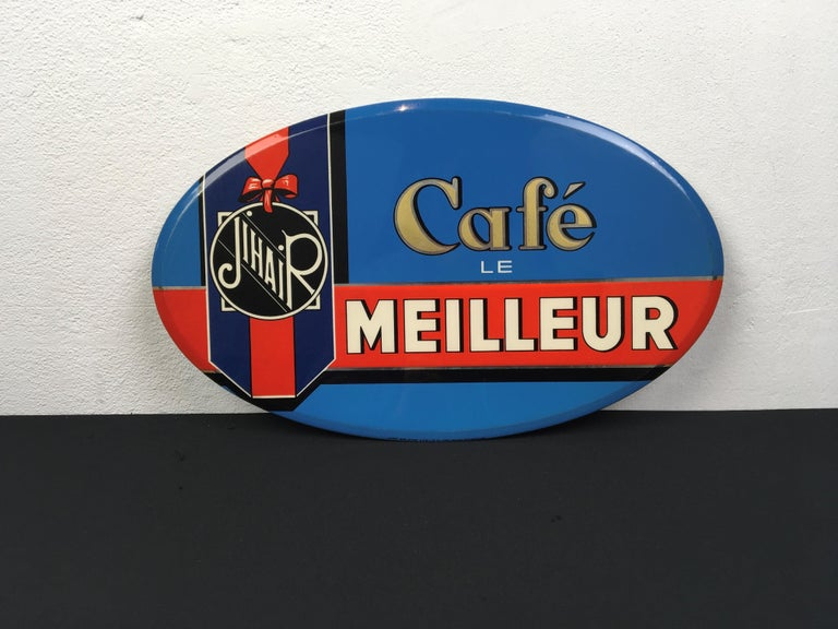 Vintage French Coffee Sign, Jihair Coffee For Sale 1