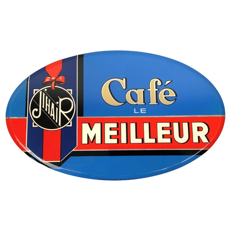 Vintage French Coffee Sign, Jihair Coffee For Sale