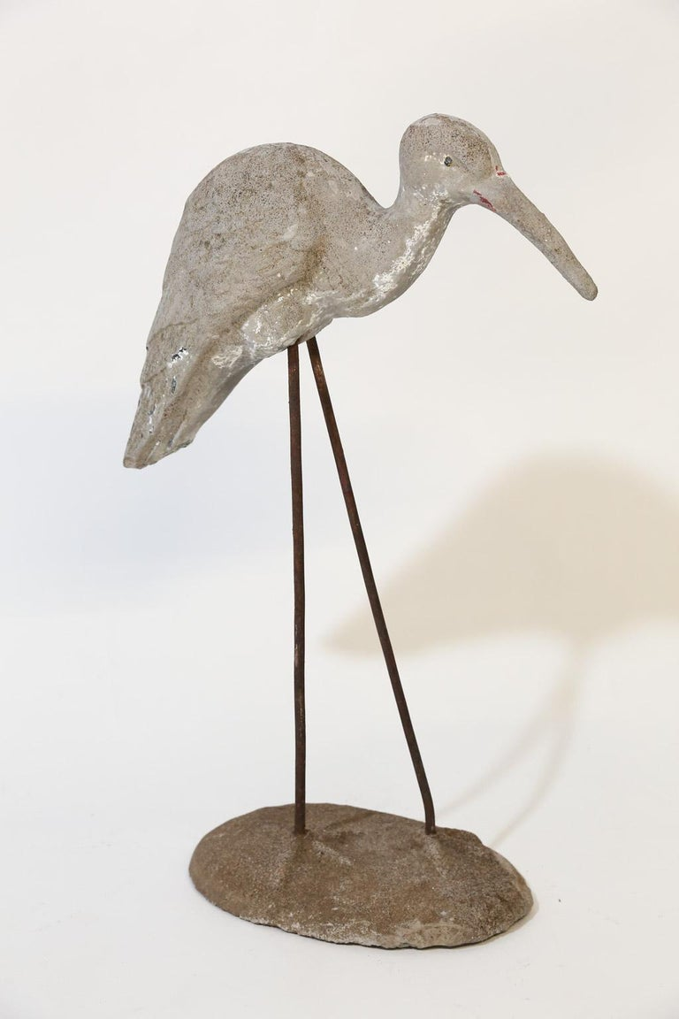 Iron Vintage French Concrete Shore Bird For Sale