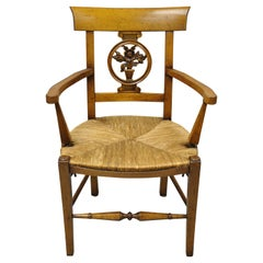 Vintage French Country Cherry Wood Italian Distressed Rush Seat Dining Arm Chair