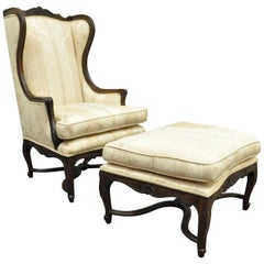 Vintage French Country Louis XV Style Carved Walnut Wing Back Chair and Ottoman