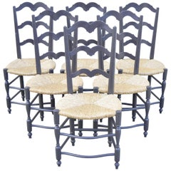 Vintage French Country Provincial Ladder Back Rush Seat Dining Chairs, Set of 6