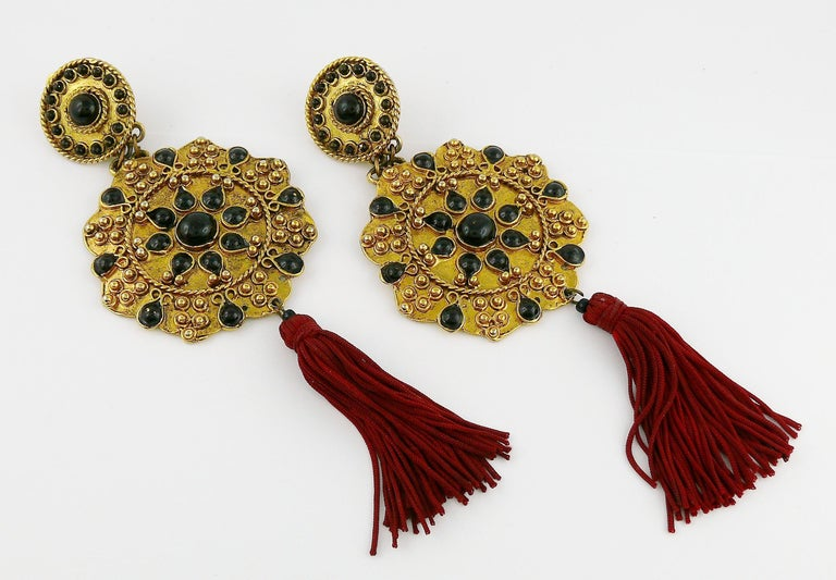 Women's Vintage French Couture Asian Inspired Shoulder Duster Tassel Dangling Earrings For Sale