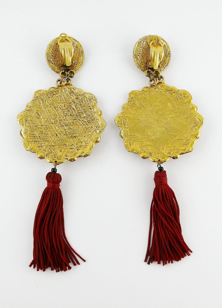 Vintage French Couture Asian Inspired Shoulder Duster Tassel Dangling Earrings For Sale 1