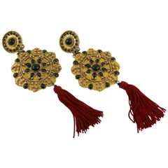 Vintage French Couture Asian Inspired Shoulder Duster Tassel Dangling Earrings