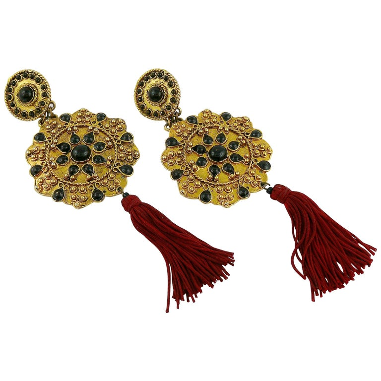 Vintage French Couture Asian Inspired Shoulder Duster Tassel Dangling Earrings For Sale