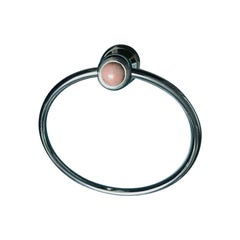 Vintage French Couture Chromed Bronze & Pink Onyx Towel Ring by Serdaneli Paris