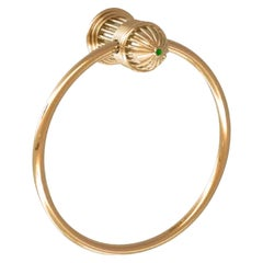 Vintage French Couture Gold and Malachite Towel Ring by Serdaneli Paris