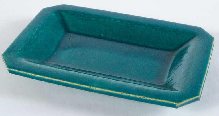 Vintage French crackle-glaze platter, Eissautier. Richly glazed, deep blue, terracotta platter. Signed 'Eissautier'. Charles Eissautier is a noted ceramic artist in Provence.