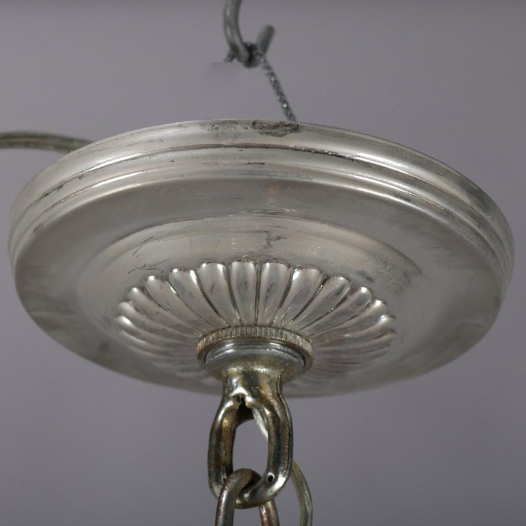 Vintage French Crystal and Chrome 5-Light Chandelier with Cut Glass Shades For Sale 5