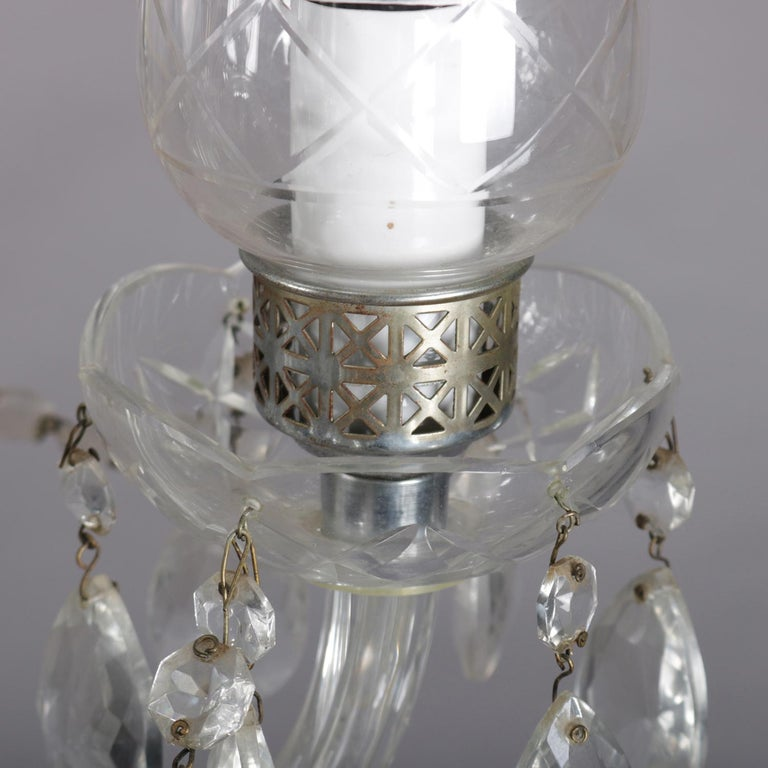 Vintage French Crystal and Chrome 5-Light Chandelier with Cut Glass Shades For Sale 6