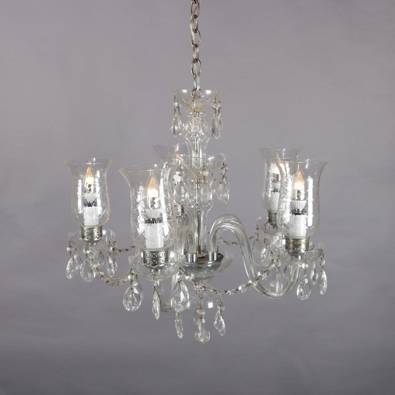 Etched Vintage French Crystal and Chrome 5-Light Chandelier with Cut Glass Shades For Sale