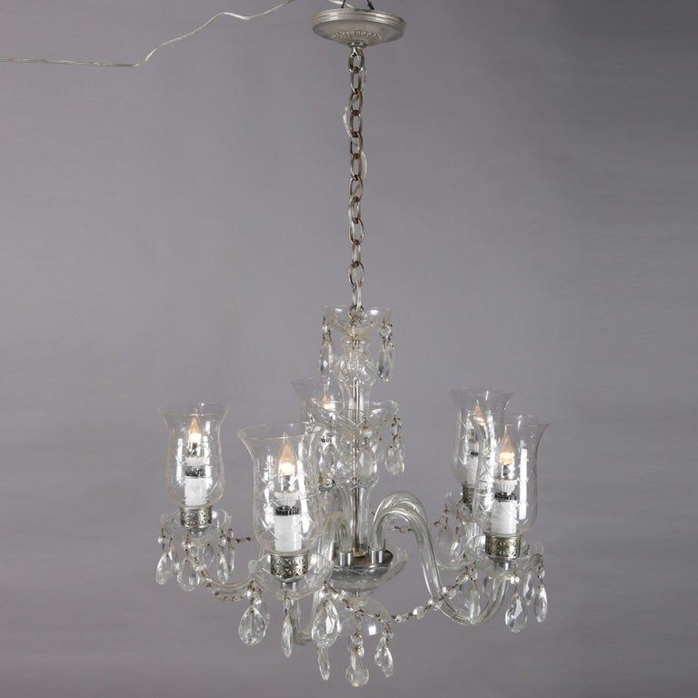 Vintage French Crystal and Chrome 5-Light Chandelier with Cut Glass Shades In Good Condition For Sale In Big Flats, NY