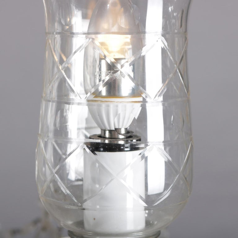 20th Century Vintage French Crystal and Chrome 5-Light Chandelier with Cut Glass Shades For Sale