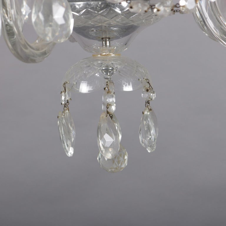 Vintage French Crystal and Chrome 5-Light Chandelier with Cut Glass Shades For Sale 1