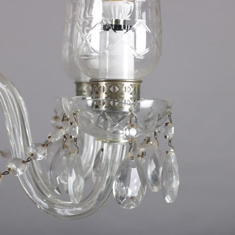 Vintage French Crystal and Chrome 5-Light Chandelier with Cut Glass Shades For Sale 2